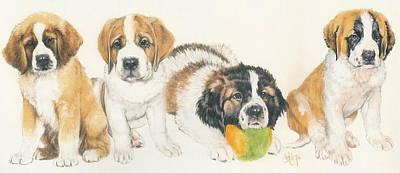 Saint Bernard Puppies Poster by Barbara Keith