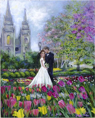 Salt Lake Temple-married In Spring Poster