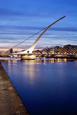 Samuel Beckett Bridge At Dusk, Liffey Poster by Panoramic Images
