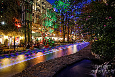 San Antonio Riverwalk Paseo Del Rio During Christmas - Texas Poster