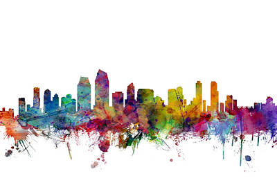 San Diego California Skyline Poster by Michael Tompsett