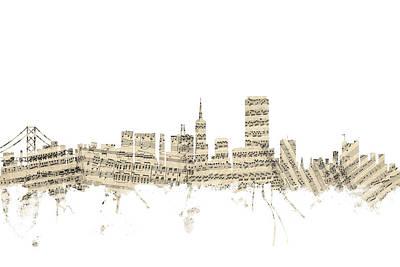 San Francisco Skyline Sheet Music Cityscape Poster by Michael Tompsett