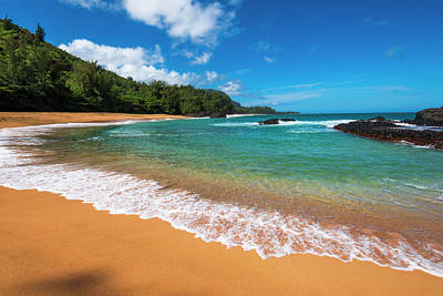 Sand And Surf At Lumahai Beach, Island Poster