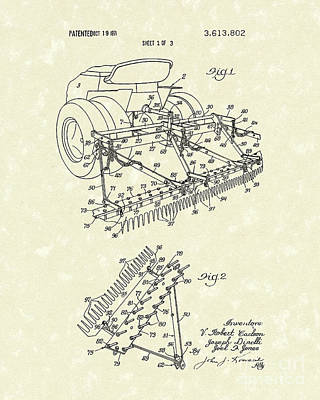 Sand Trap Rake 1971 Patent Art Poster