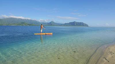 Sandbar, Kaneohe Bay, Oahu, Hawaii Poster by Douglas Peebles