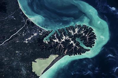 Satellite View Of Lake Ellesmere Poster