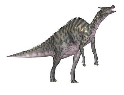 Saurolophus Dinosaur Poster by Friedrich Saurer