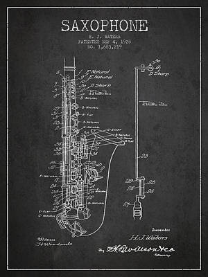 Saxophone Patent Drawing From 1928 Poster