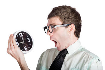 Scared Businessman With Clock Poster