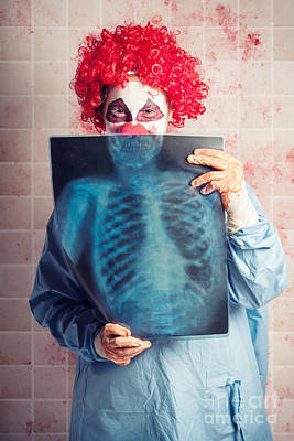 Scary Clown Peeking Behind X-ray. Funny Bones Poster by Jorgo Photography - Wall Art Gallery