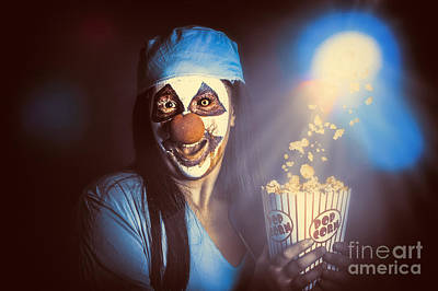 Scary Clown Watching Horror Movie In Theater Poster