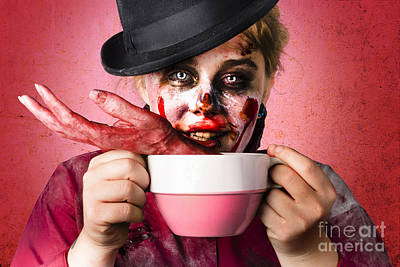 Scary Female Zombie Drinking Handmade Soup Poster by Jorgo Photography - Wall Art Gallery