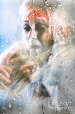 Scary Horror Zombie Licking Human Hand At Window Poster by Jorgo Photography - Wall Art Gallery