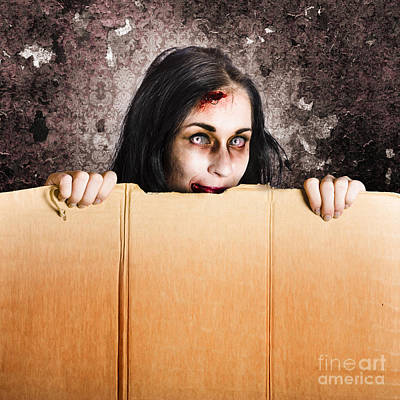 Scary Zombie Girl Advertising Halloween Price Cut Poster