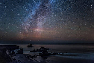Scenic View Of Beach Against Star Field Poster