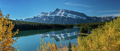 Scenic View Of Mount Rundle Reflected Poster