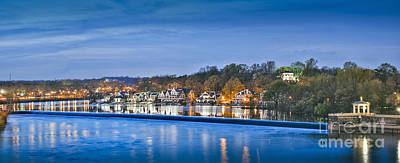 Schuylkill River  Boathouse Row Lit At Night  Poster by David Zanzinger