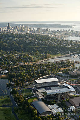 Seattle Skyline With Aerial View Of The Newly Renovated Husky St Poster by Jim Corwin