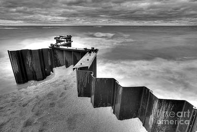 Seawall In Black And White Poster by Twenty Two North Photography