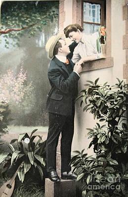 Secret Romance. Vintage Postcard 1907 Poster by Patricia Hofmeester