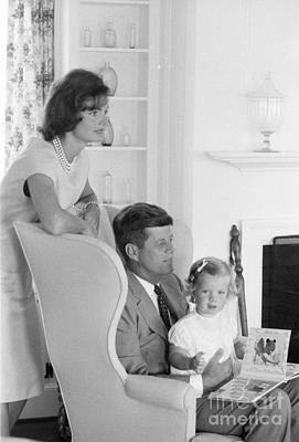 Senator John F. Kennedy With Jacqueline And Caroline Poster by The Harrington Collection