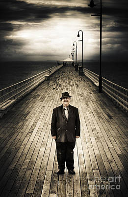 Senior Male Standing On A Pier Promenade Poster