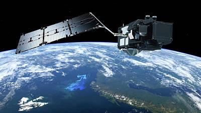 Sentinel-3 Satellite In Orbit Poster