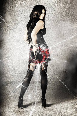 Sexy Brunette Woman Holding Gun With Deadly Style Poster by Jorgo Photography - Wall Art Gallery