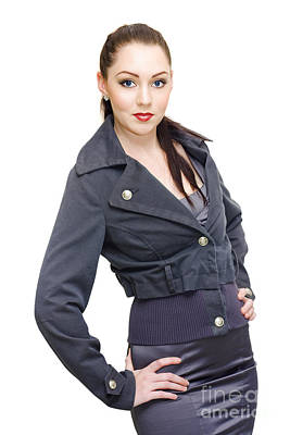 Sexy Woman In Business Fashion Striking Model Pose Poster