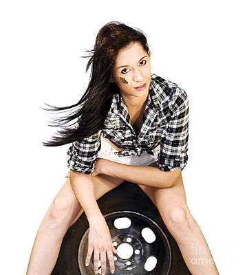 Sexy Woman Sitting On Car Tyre Poster by Jorgo Photography - Wall Art Gallery