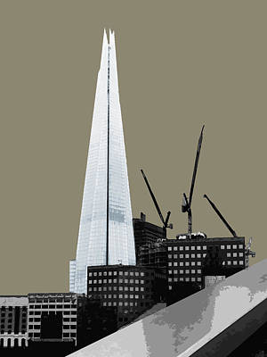 Shard - French Grey Poster by Big Fat Arts