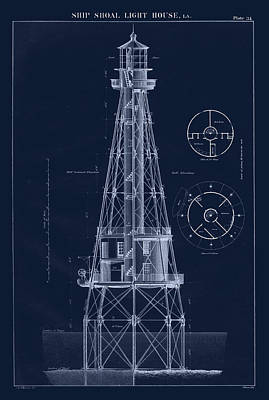 Ship Shoal Lighthouse Drawing Poster by Jerry McElroy