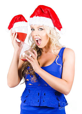 Shocked Woman With Minutes Left To Christmas Time Poster