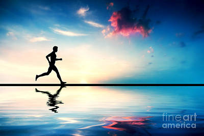 Silhouette Of Man Running At Sunset Poster