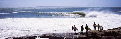 Silhouette Of Surfers Standing Poster by Panoramic Images