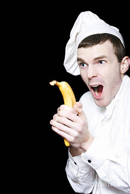 Silly Kitchen Cook Shooting A Banana Gun Poster by Jorgo Photography - Wall Art Gallery