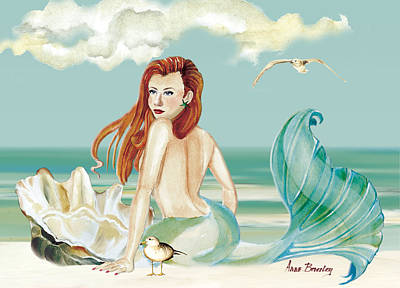 Siren Of The Sea Poster by Anne Beverley-Stamps