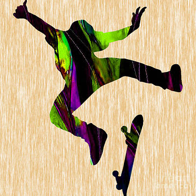 Skateboarder Painting Poster by Marvin Blaine