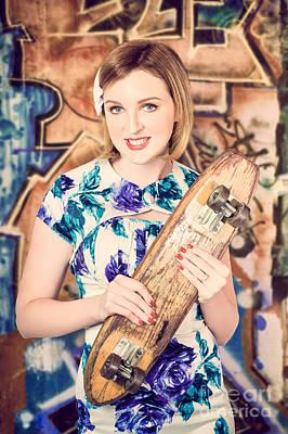 Skater Girl From 1950s Holding Wooden Skate Deck Poster