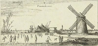 Skaters On The Ice At A Mill Near Penningsveer Poster by Esaias Van De Velde
