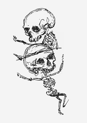 Skeletons, Illustration From Complainte De Loubli Et Des Morts Poster by Jules Laforgue