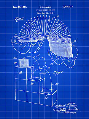 Slinky Patent 1946 - Blue Poster by Stephen Younts