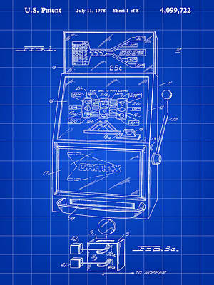 Slot Machine Patent 1978 - Blue Poster by Stephen Younts