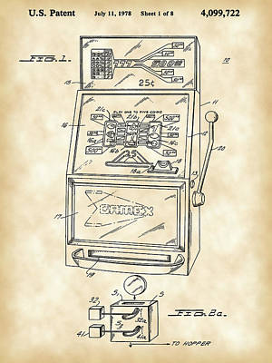Slot Machine Patent 1978 - Vintage Poster by Stephen Younts