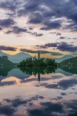 Slovenia, Bled, Lake Bled Dawn (large Poster by Rob Tilley