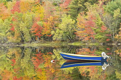 Small Motor Boat In Fall Torsey Pond Readfield Maine Poster