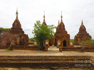 Poster featuring the photograph Smaller Temples Next To Dhammayazika Pagoda Built In 1196 By King Narapatisithu Bagan Burma by Ralph A  Ledergerber-Photography