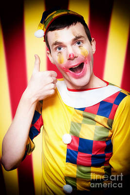 Smiling Circus Clown Standing Inside Bigtop Tent Poster