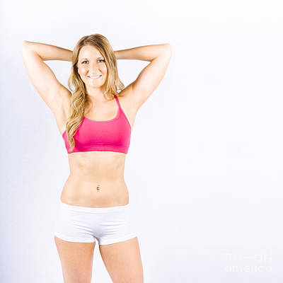 Smiling Fit Woman Warming Up Before Training Poster by Jorgo Photography - Wall Art Gallery