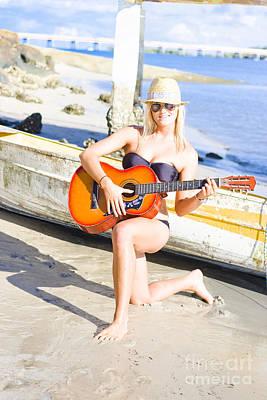 Smiling Girl Strumming Guitar At Tropical Beach Poster